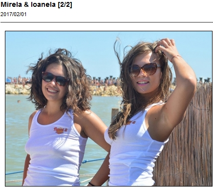 Real girls Mirela and Loanela posing in white t-shirts on the beach with UGotItFlauntIt